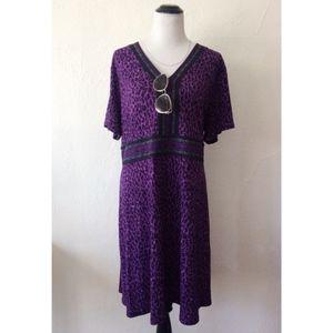 MICHAEL KORS PLUS SIZE purple leopard v-neck dress